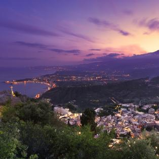 Udsigt til Etna fra Taormina