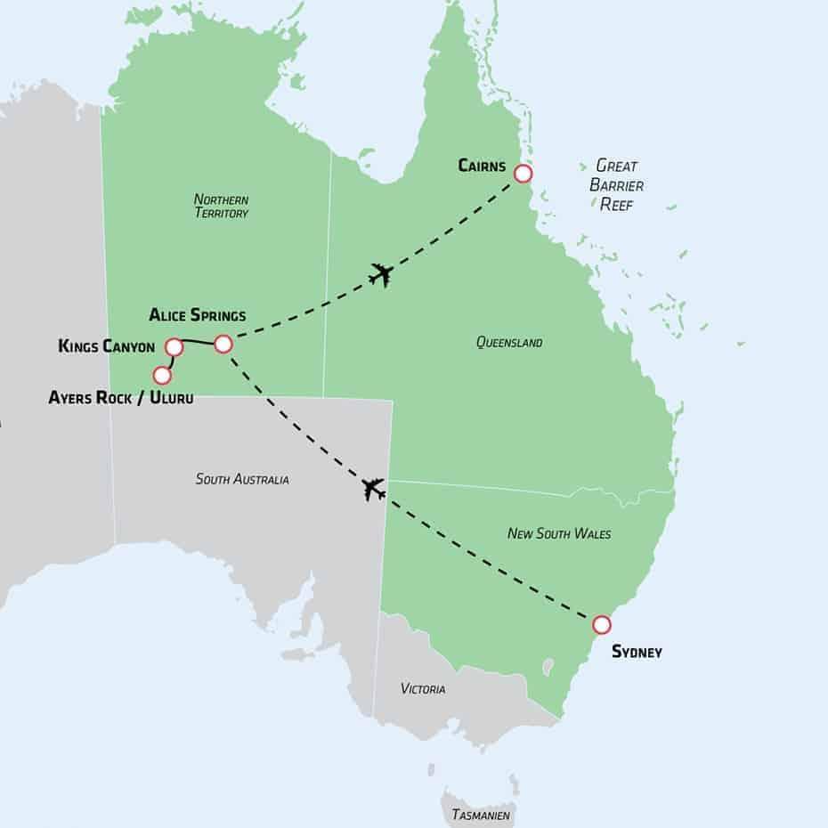 Australske highlights kort - Risskov Rejser