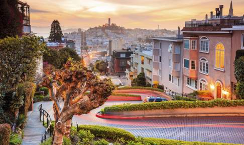 Den berømte Lombard Street i San Francisco - Risskov Rejser