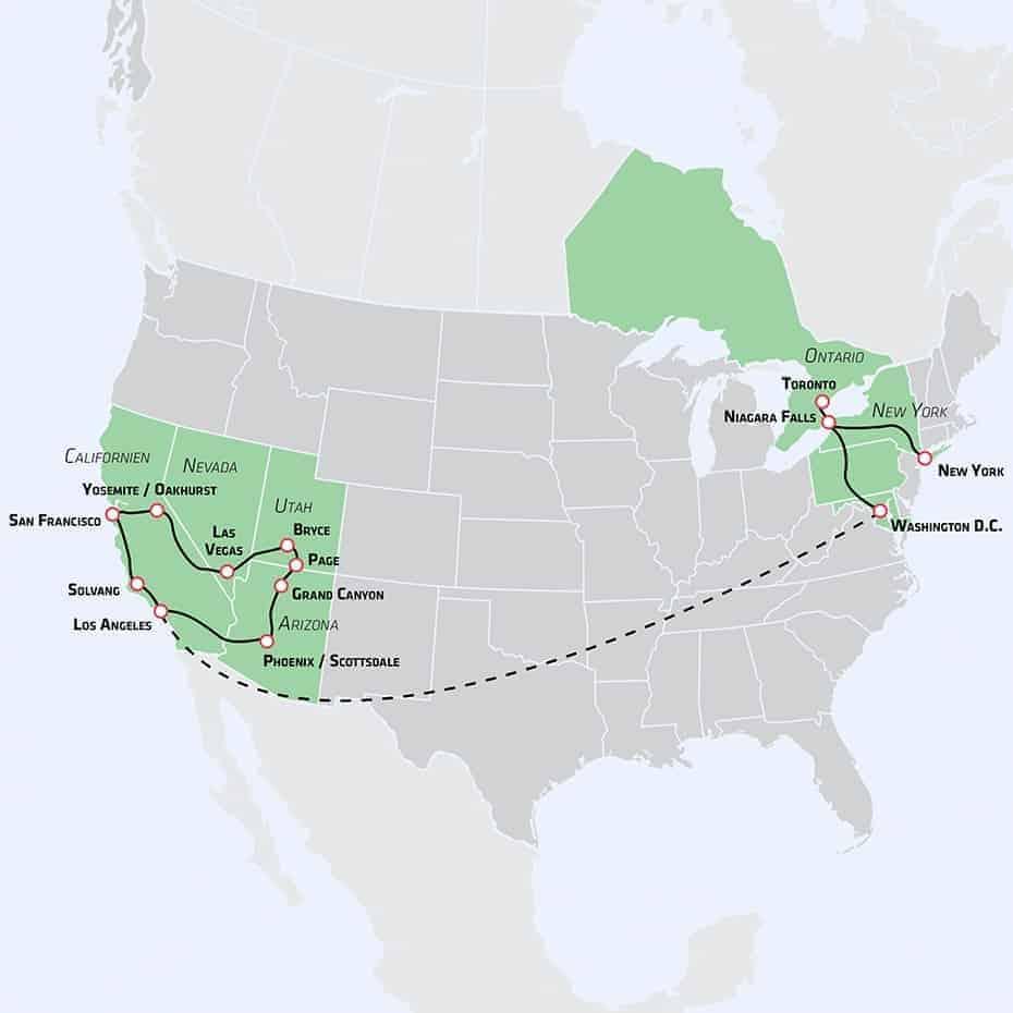 Den store Amerika-rejse kort til tile