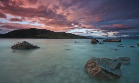 Lake Tekapo i et smukt aftenlys, New Zealand - Risskov Rejser