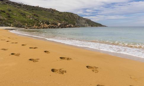 Bugten Ramla på øen Gozo