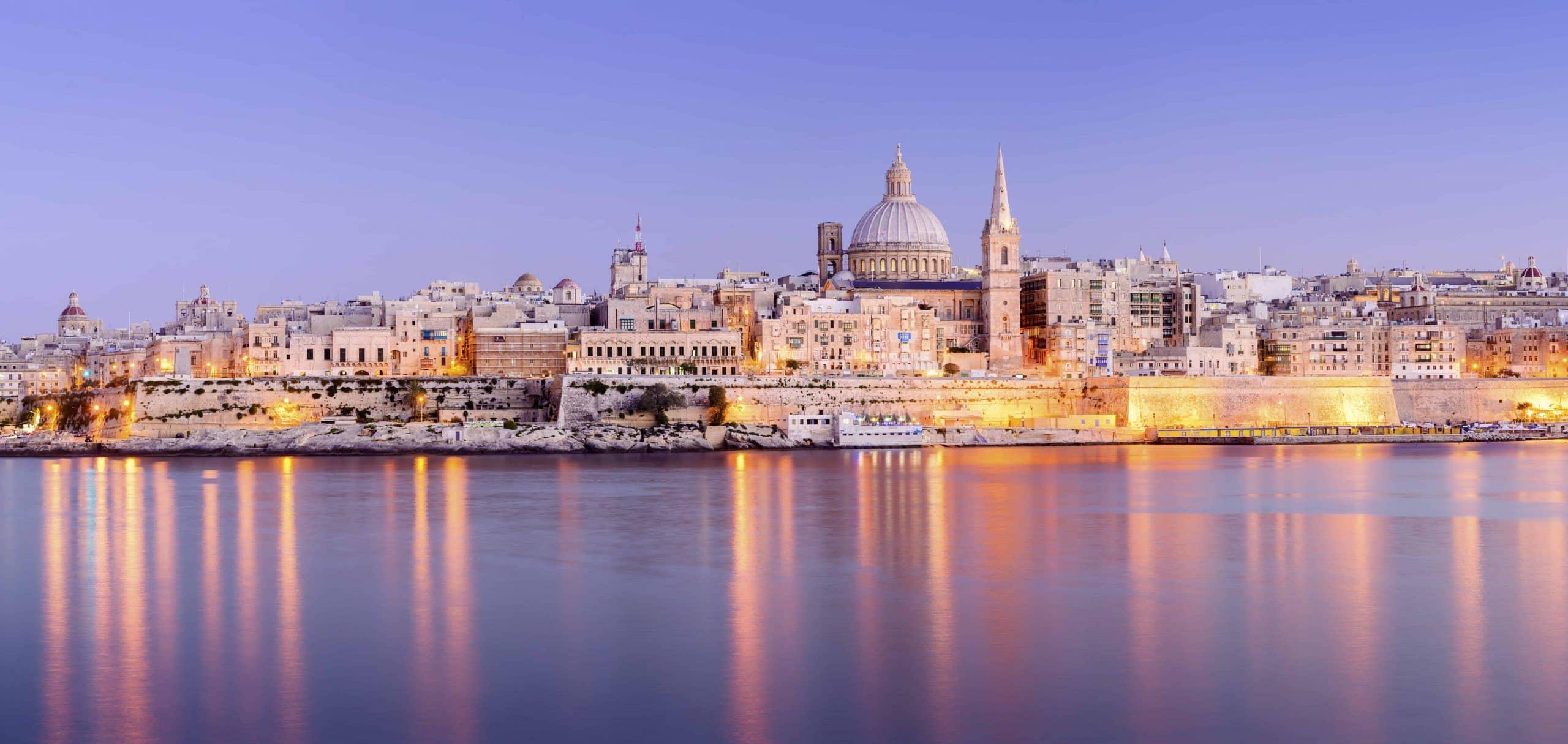 Aftenstemning i Valetta på Malta