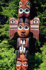 Close-up of Kadjuk Bird Totem Pole, Bight State Historical Park, Ketchikan, Alaska, USA