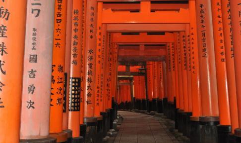 Røde torii-porte og skrifttegn, Fushimi Inarai-tempel - Risskov Rejser