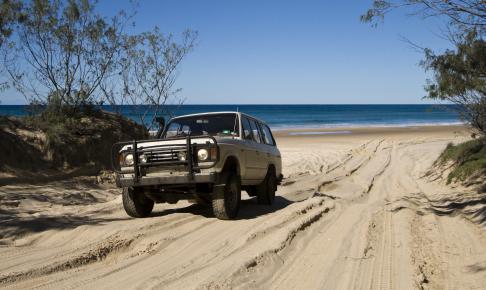På Fraser Island kører man rundt i jeep på stranden - Risskov Rejser