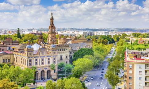 Udsigt over Sevilla og Plaza de Espana - Risskov Rejser