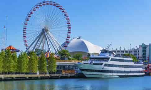 Chicagos havnefront med pariserhjul