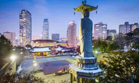 Sydkoreas hovedstad Seoul med ca. 25 millioner indbyggere - Risskov Rejser