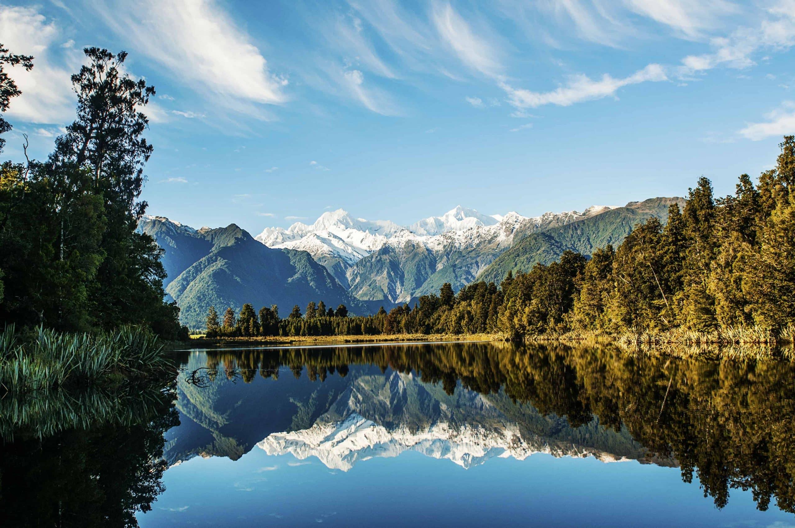 Lake Matheson nær Westland National Park - Risskov Rejser
