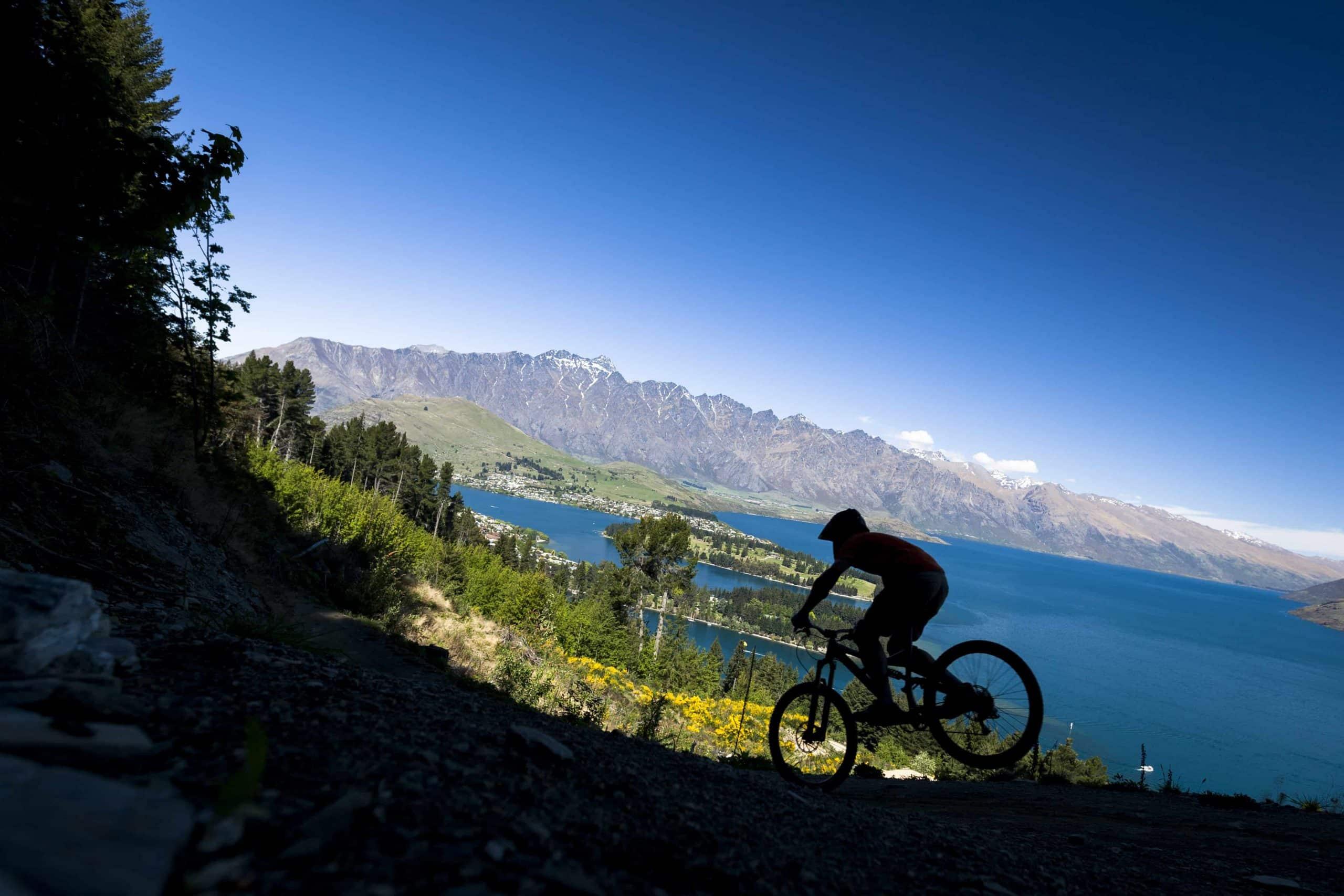 Mountainbiker i fuld fart med Queenstown i baggrunden - Risskov Rejser
