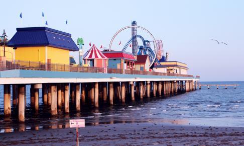 Forlystelsespark Galveston ved havnen