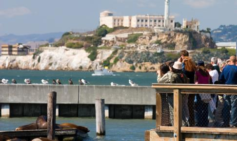 Alcatraz og søløver i San Francisco