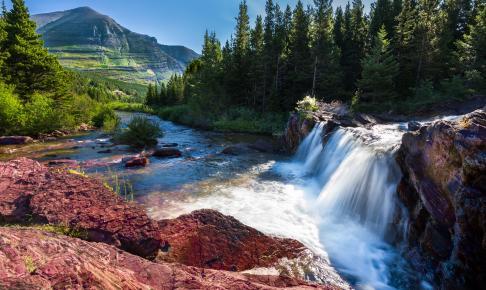Red Rock Falls i Glacier National Park - Risskov Rejser
