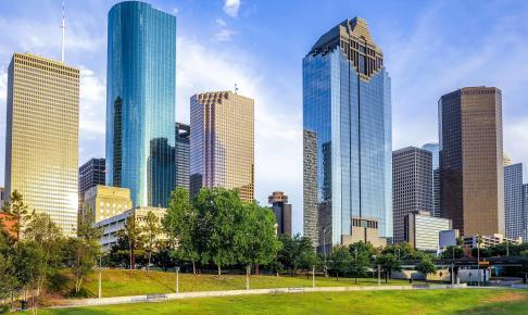 Skyskrabere i Houston i skinnende sol - Risskov Rejser