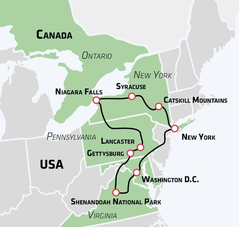 Grand Tour Of The East Kor Selv Tur I Det Ostlige Usa Risskov