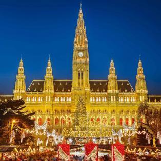 Julelys og julestemning foran Wiens rådhus - Risskov Rejser