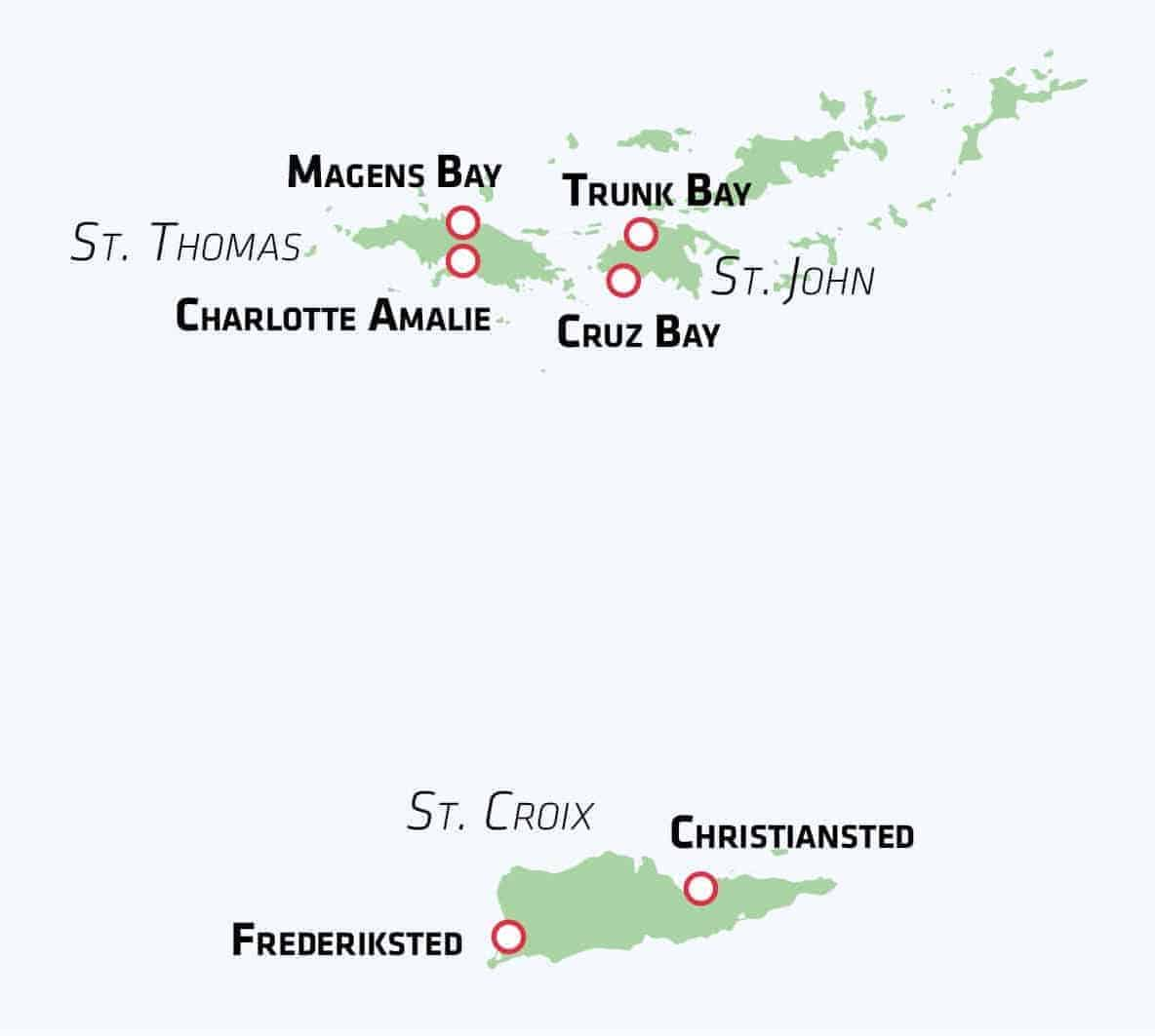 Kort over De Vestindiske Øer - Risskov Rejser