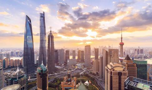 Shanghai skyline and cityscape at sunset - Risskov Rejser