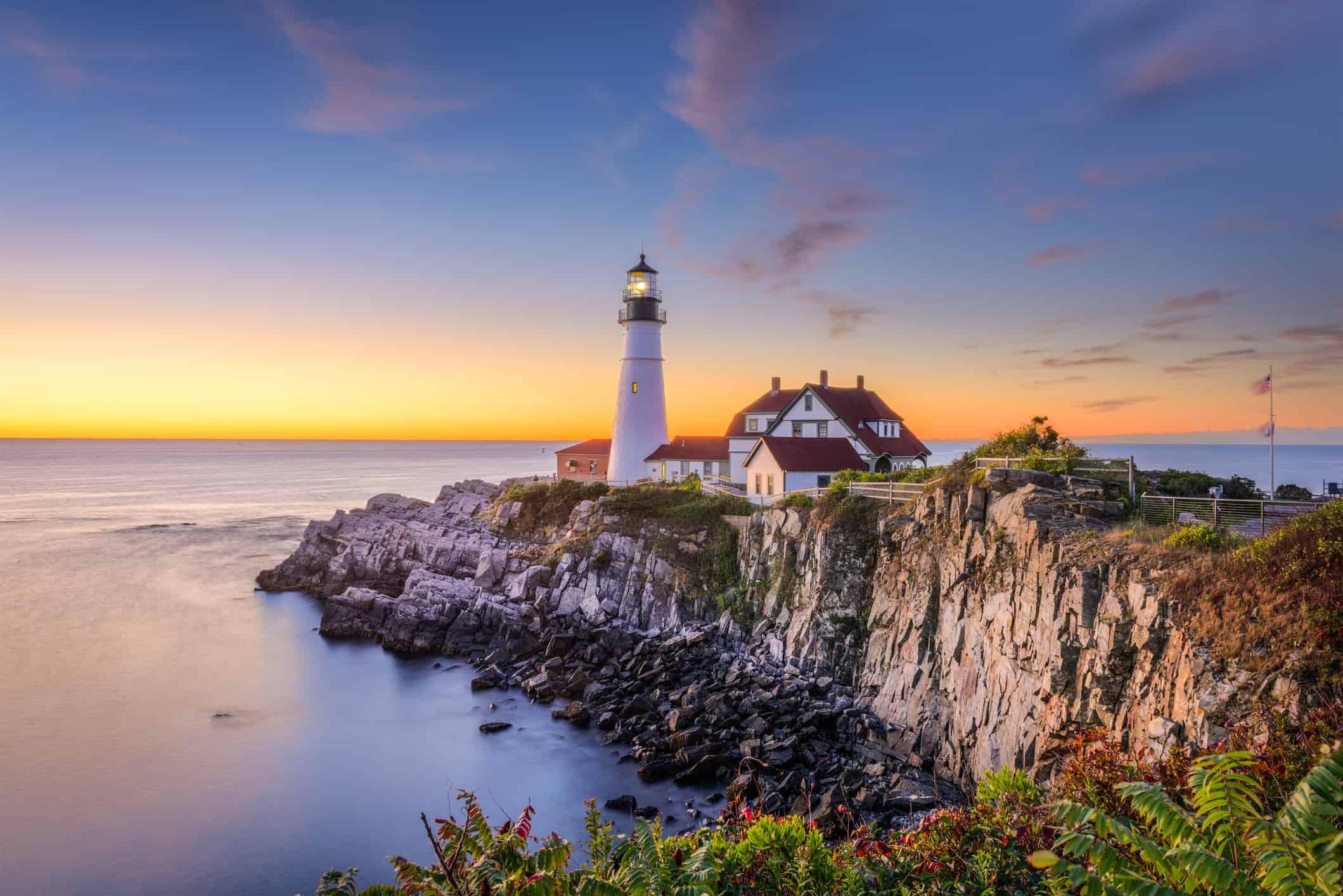 Fyrtårn i Maine i New England i USA
