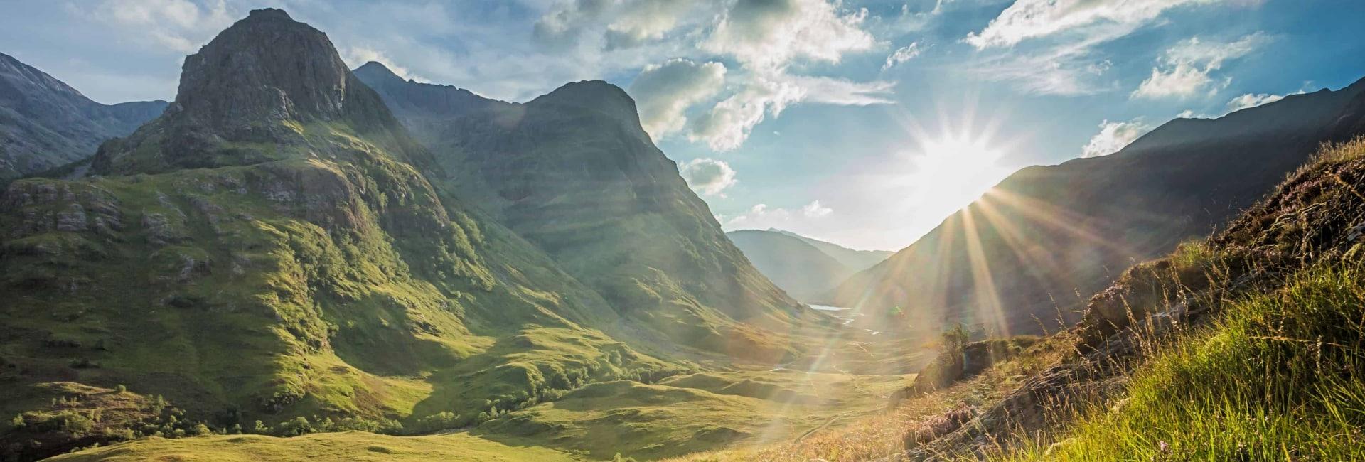 Højlandet i Skotland ved solnedgang