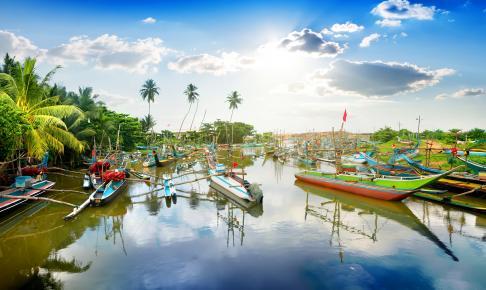 Farverige fiskerbåde i en bugt ved Galle på Sri Lanka - Risskov Rejser