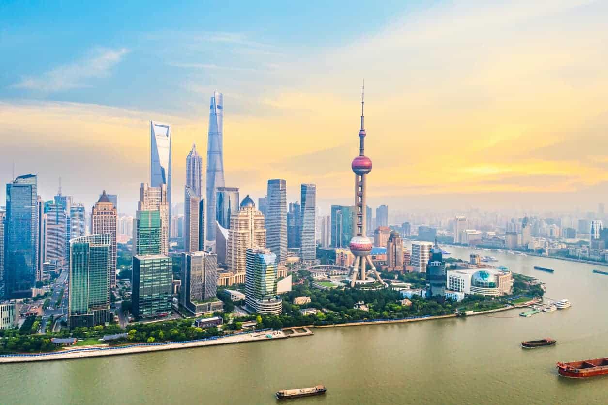Skyline-udsigten over Shanghai