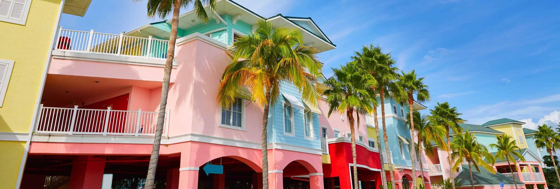 Farverige huse i Fort Myers, Florida